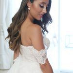 Off the shoulder wedding gown